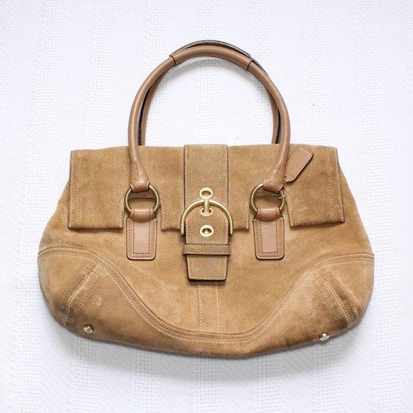 Coach Tan Suede Leather Shoulder Bag Foldover Flap